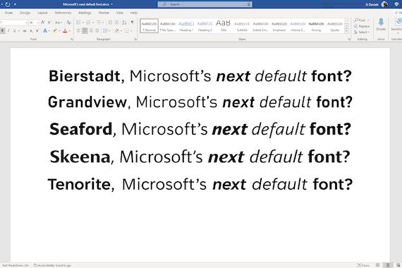 Voici les 5 candidats pour la nouvelle police de caractère par défaut de Microsoft Office. (Image: Microsoft)